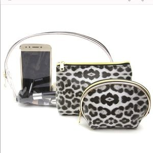 Handbags - 3 Pack Cheetah Print Travel/Makeup Bags - Black